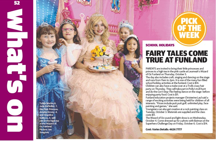 Fairy tales come true at Funland (Macarthur Chronicle, Sept 26, 2017)
