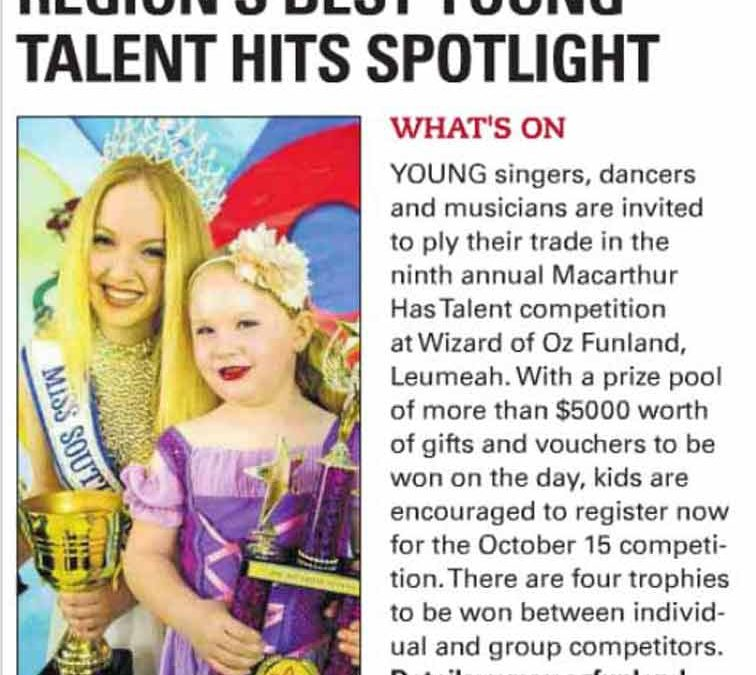 Region's best young talent hits spotlight (Macarthur Advertiser 11-10-2017)